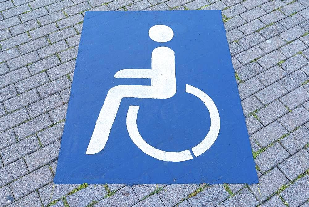 Pictogram, disabled parking, Thuringia, Germany, Europe