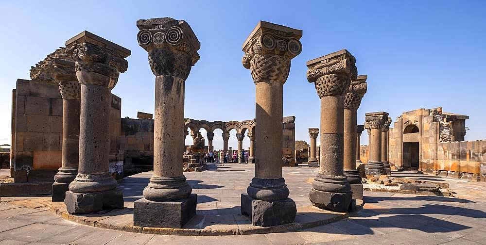 Columns, ruins of the 7th century round church, Swartnoz, Armavir Province, Armenia, Asia