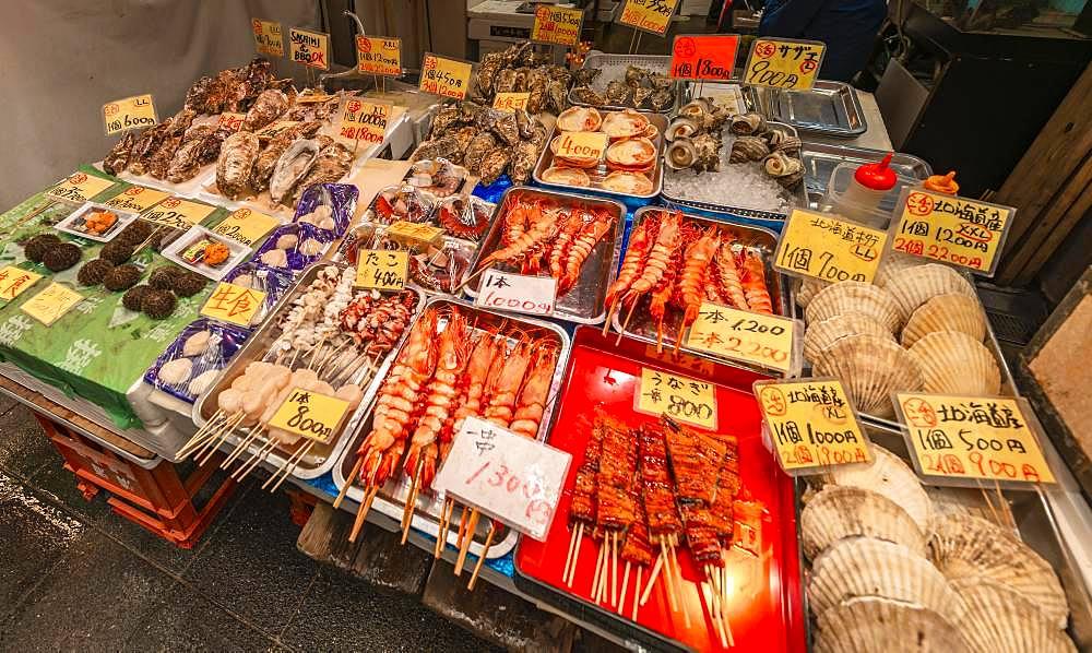 Fresh seafood, Kuromon Ichiba market, Osaka, Japan, Asia
