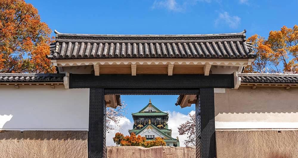 Sakura-mon Gate, Osaka Castle, Osaka Castle Park, Chuo-ku, Osaka, Japan, Asia