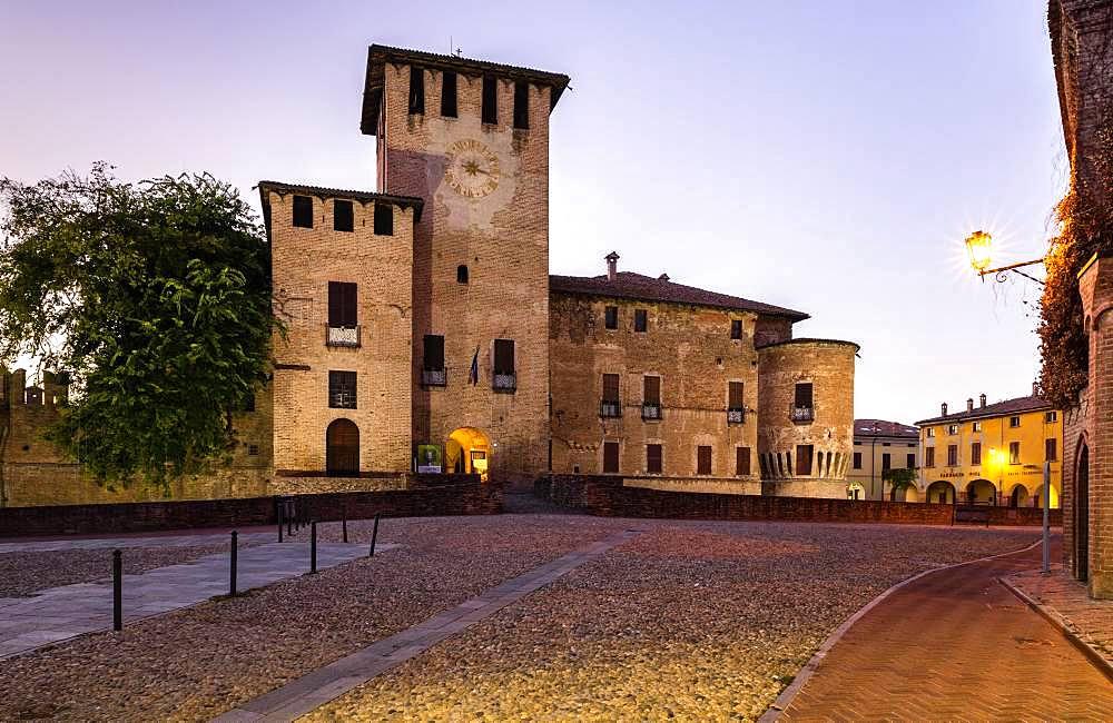 Dusk, city centre with Rocca Sanvitale Castle, Fontanellato, Province of Parma, Emilia-Romagna, Italy, Europe