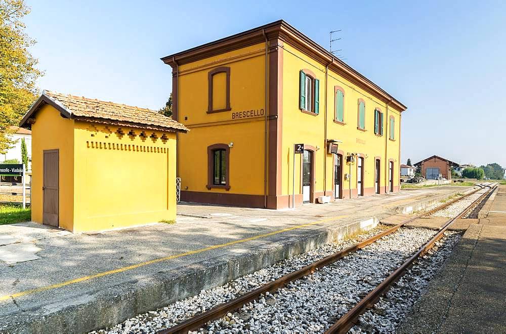 Station of Brescello, location of the films of Don Camillo and Peppone, Brescello, Province of Reggio Emilia, Emilia-Romagna, Italy, Europe