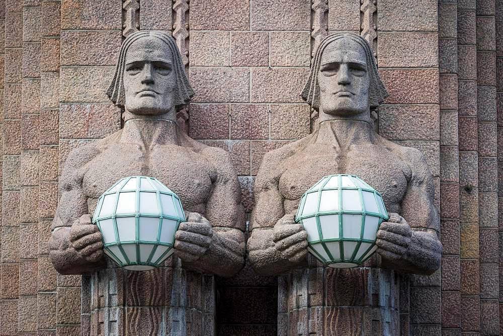 Torchbearers, Statues of Emil Wikstroem, Central Station, Helsinki, Finland, Europe