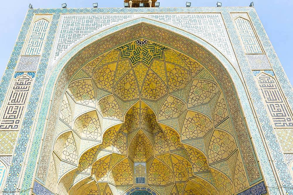 West Iwan facade, Masjed-e Djame or Jameh Mosque, Esfahan, Iran, Asia