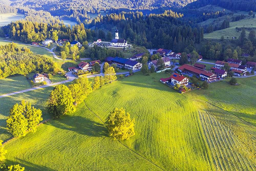 Village Jachenau, Isarwinkel, aerial view, Upper Bavaria, Bavaria, Germany, Europe - 832-386089