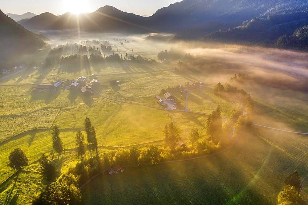 Sunrise with ground fog, Jachenau, Isarwinkel, aerial view, Upper Bavaria, Bavaria, Germany, Europe