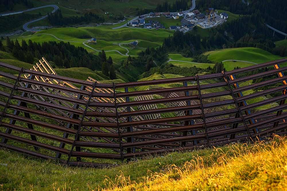 Avalanche barriers on mountain slopes, Schroecken, Vorarlberg, Austria, Europe