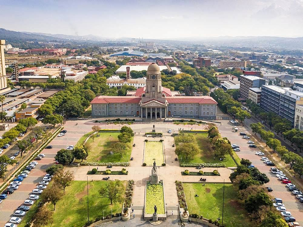 Aerial view, Tshwane city hall, Pretoria, South Africa, Africa