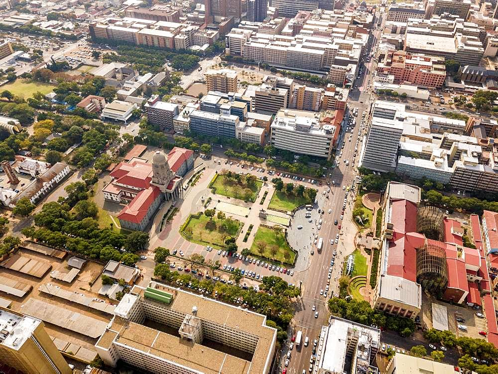 Aerial view of Tshwane city hall and Ditsong National Museum of Natural History, Pretoria, South Africa, Africa