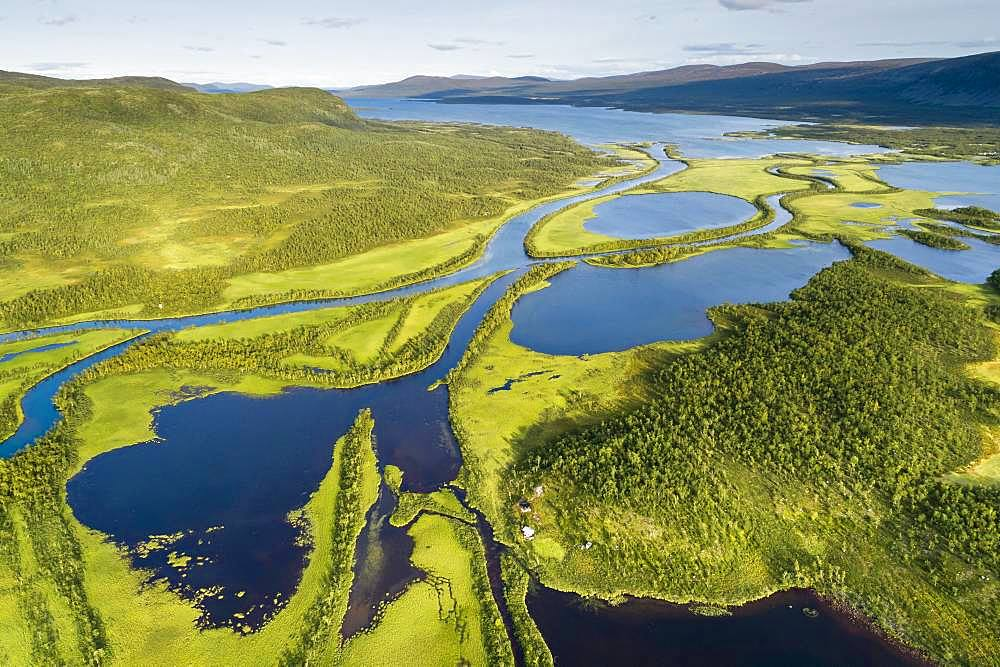 Aerial view, drone shot, meandering river landscape of the Rapa Valley near Nikkaluokta, Sarek National Park, Norrbottens laen, Sweden, Europe