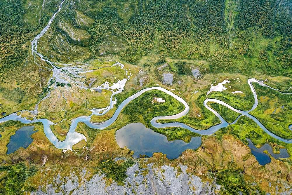 Aerial view, meandering river landscape in the Rapa Valley near Kebnekaise, Sarek National Park, Norrbottens laen, Sweden, Europe
