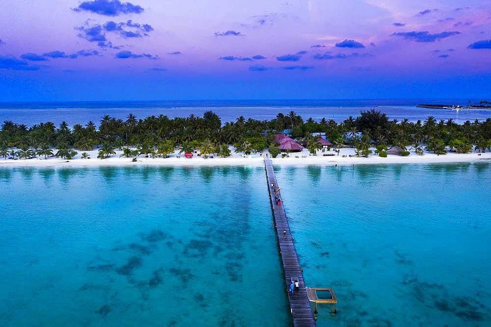 Aerial view, Maldives, South Male Atoll, lagoon of the Maldives island Bodufinolhu or Fun Island resort, South Male Atoll, Maldives, Asia