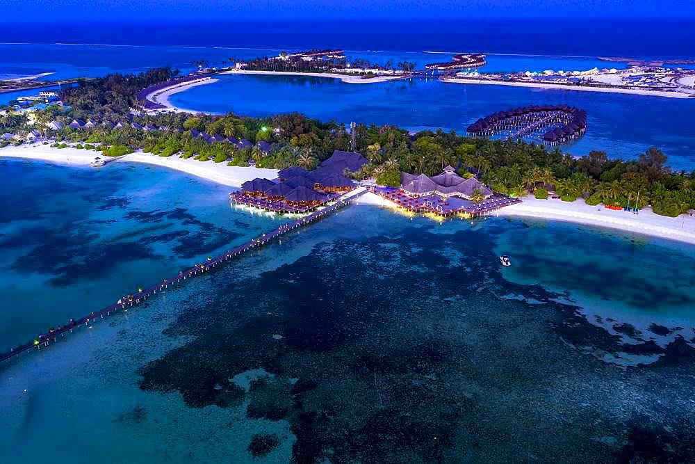 Aerial view, lagoon of the Maldives island Olhuveli at dusk, South Male-Atoll, Maldives, Asia