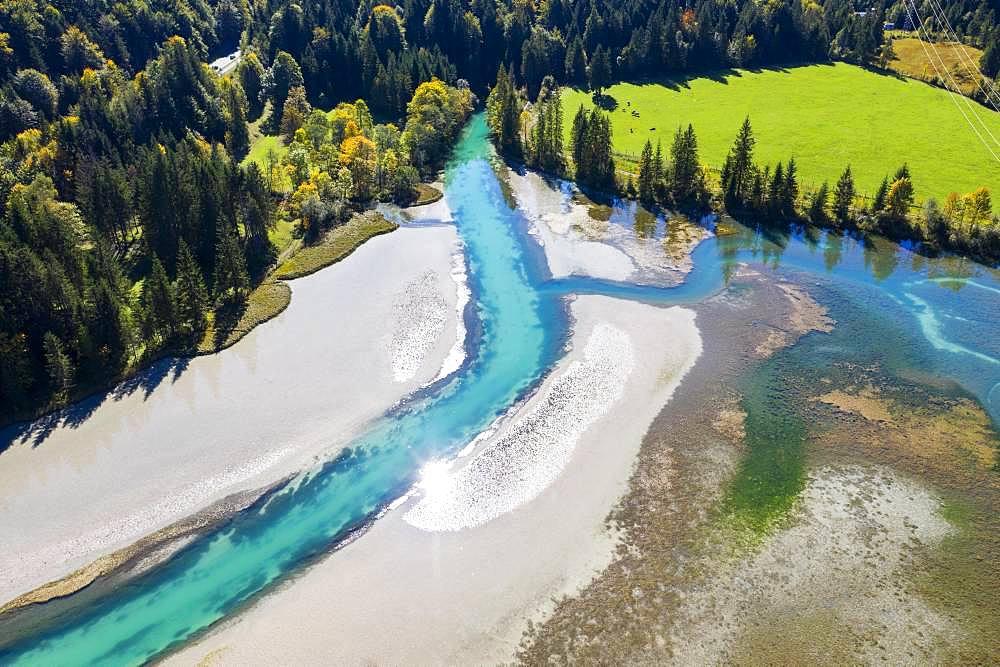 Lake Sachensee, reservoir at the Obernachkanal, near Wallgau, Werdenfelser Land, aerial view, Upper Bavaria, Bavaria, Germany, Europe