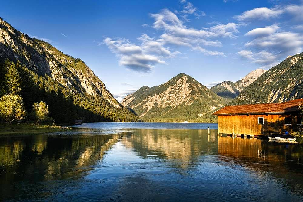 Boathouse at Heiterwanger See, Tyrol, Austria, Europe