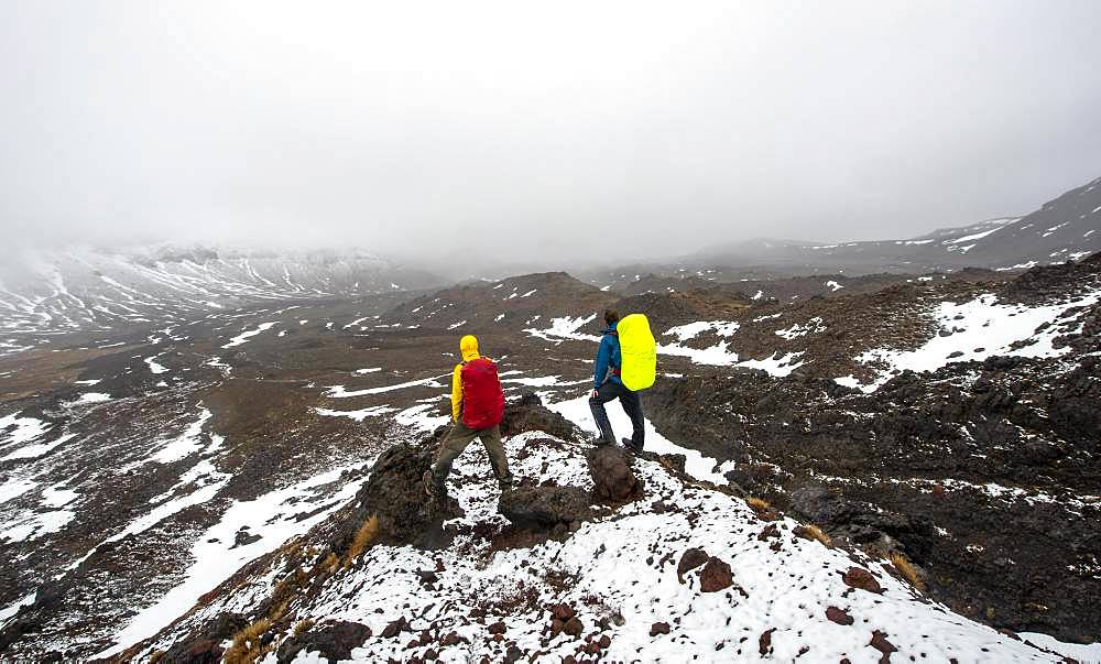 Hikers standing on stones, hiking trail Tongariro Alpine Crossing in snow over lava fields, Tongariro National Park, North Island, New Zealand, Oceania
