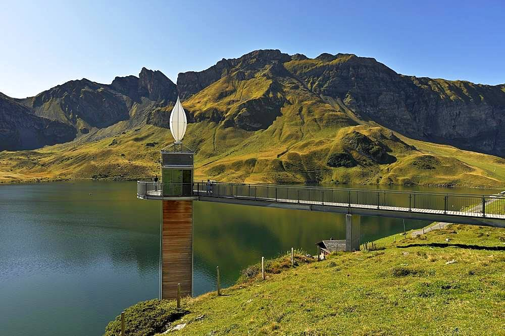 Panorama lift with viewing platform at Lake Melchsee, Melchsee-Frutt, Canton Obwalden, Switzerland, Europe