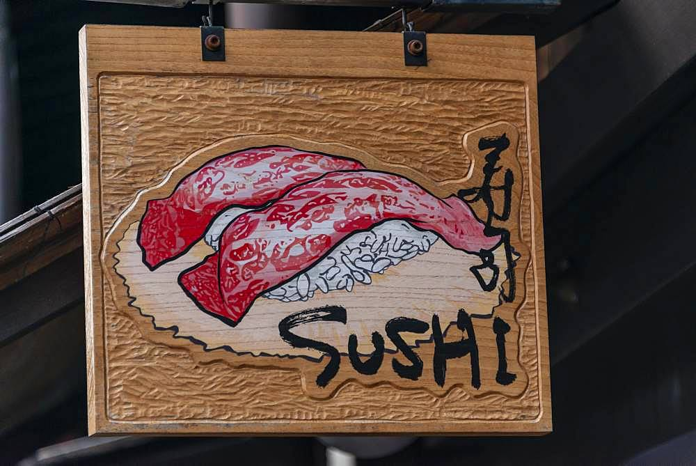 Signboard with inscription Sushi in front of a restaurant, Takayama, Gifu, Japan, Asia
