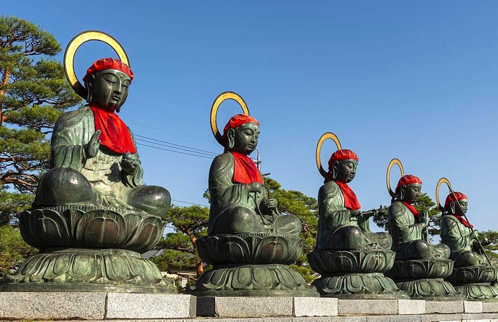 Buddha Statues, 六地蔵, Buddhist Zenko-ji Temple, Nagano, Japan, Asia