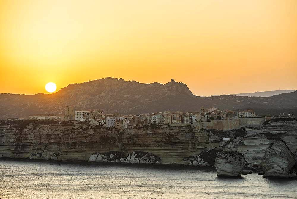Steep coast and chalk cliffs, sunset, Bonifacio, Corsica, France, Europe