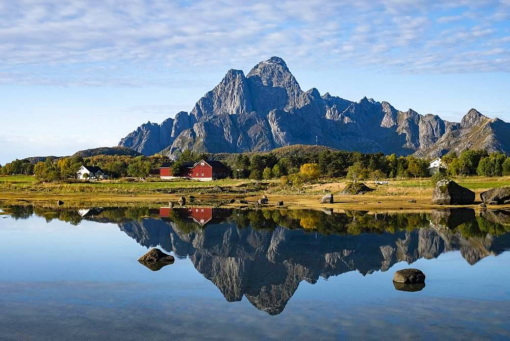Autumnal landscape, water reflection with mountain, near Svolvaer, Lofoten, Norway, Europe - 832-386351