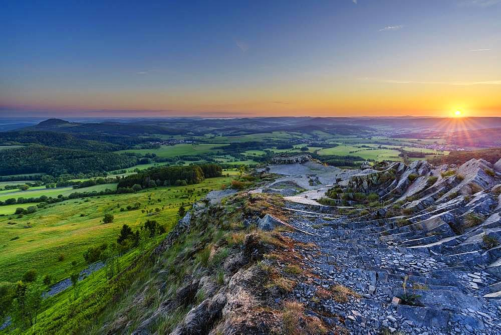 Wasserkuppe, Abtsrodaer Kuppe, morning mood at sunrise, Gersfeld, Rhoen, Hesse, Germany, Europe