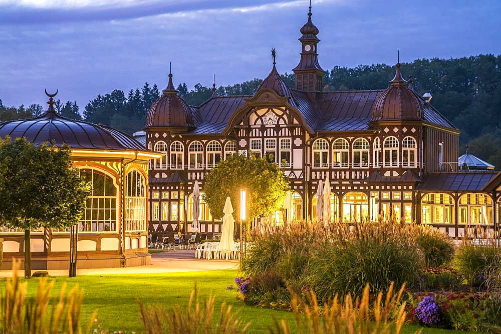 Spa hotel at dusk, Bad Salzungen, Thuringia, Germany, Europe