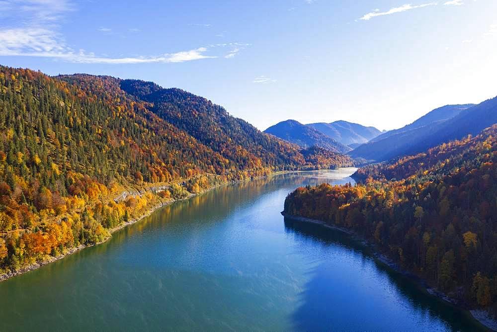 Sylvenstein lake, Sylvenstein reservoir, near Lenggries, Isarwinkel, aerial view, Upper Bavaria, Bavaria, Germany, Europe