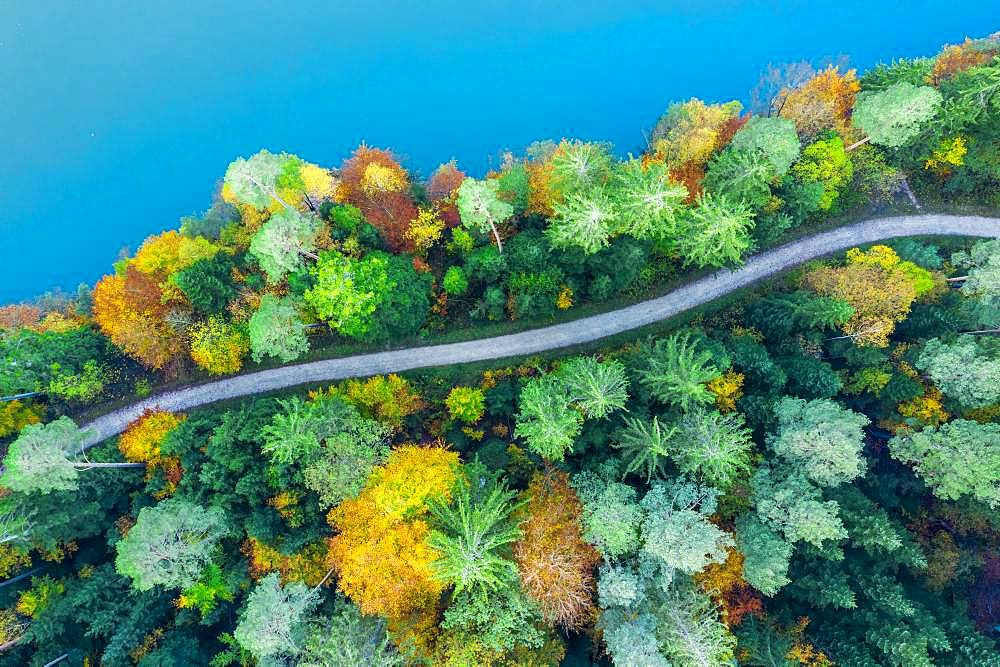 Drone shot, autumn in the Swabian Forest, Herrenbachstausee, Herrenbachtal, Goeppingen district, Baden-Wuerttemberg, Germany, Europe