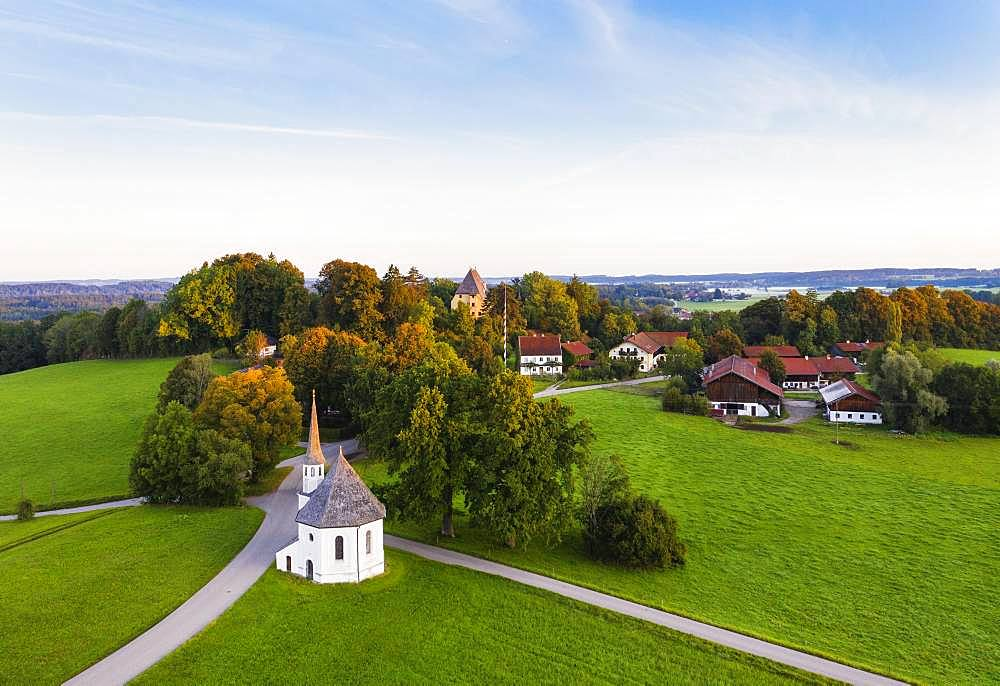 Chapel St. Leonhard and Castle Harmating, Harmating, near Egling, Toelzer Land, aerial view, Upper Bavaria, Bavaria, Germany, Europe