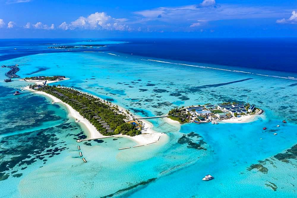 Aerial view, Maldives, Bodufinolhu, Maldives Fun Island Lagoon, South Male-Atoll, Maldives, Asia