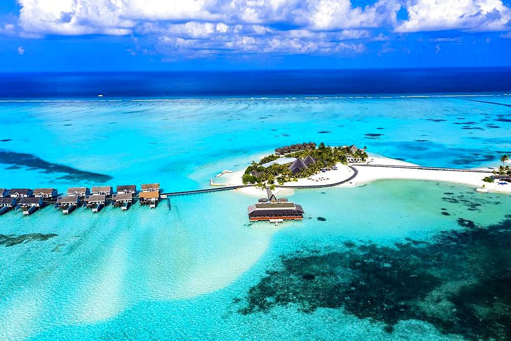 Aerial view, lagoon of the Maldives island Maadhoo, South-Male-Atoll, Maldives, Asia