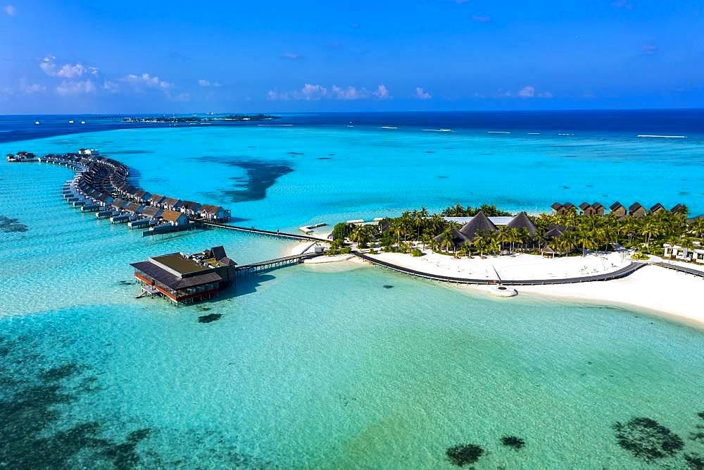 Aerial view, lagoon of the Maldives island Maadhoo, South-Male-Atoll, Maldives, Asia
