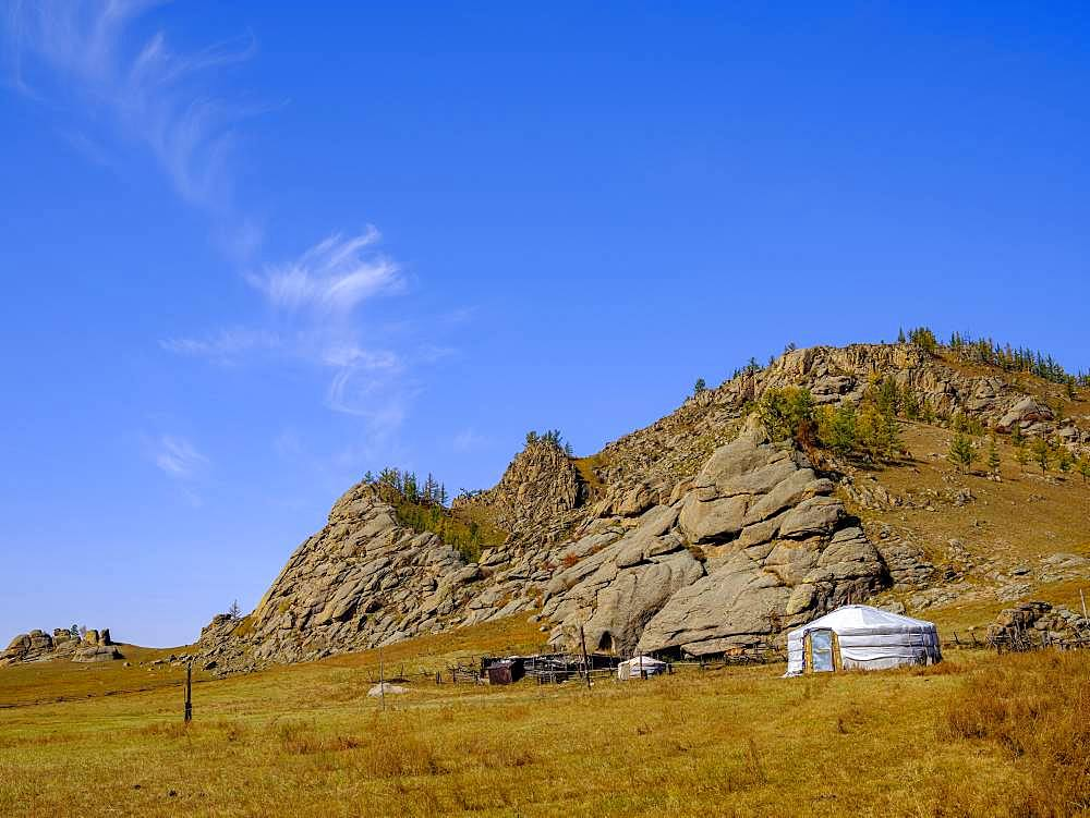 Yurt under rocks in Gorchi Terelj National Park, Ulan Bator, Mongolia, Asia