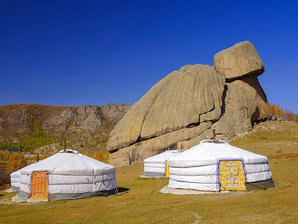 Yurts under the Turtle Rock, in Gorky Terelj National Park, Gorky Terelj National Park, Ulaanbaatar, Ulan Bator, Mongolia, Asia