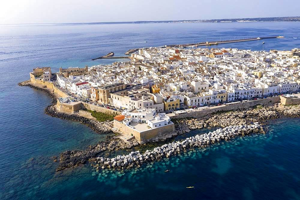 Aerial view, old town with fort, city wall and harbour, Gallipoli, province of Lecce, Salento peninsula, Apulia, Italy, Europe - 832-386520