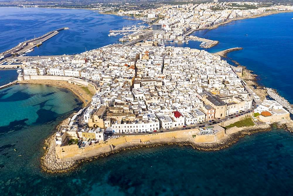 Aerial view, old town with fort, city wall and harbour, Gallipoli, province of Lecce, Salento peninsula, Apulia, Italy, Europe