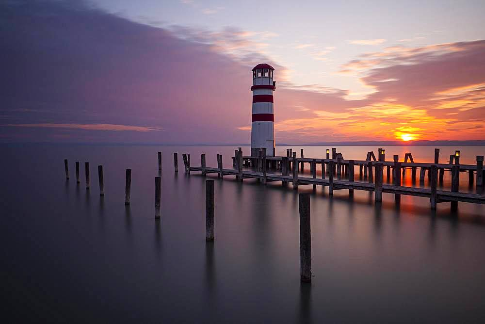 Lighthouse at sunset, Podersdorf am See, Lake Neusiedl, Burgenland, Austria, Europe