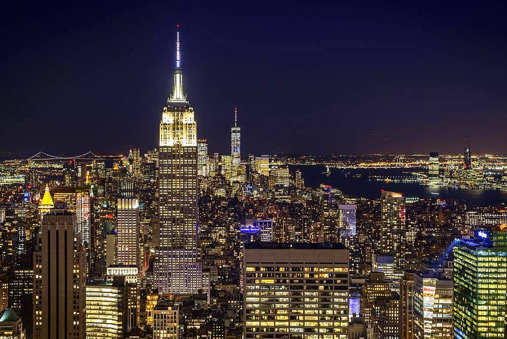 View of Midtown and Downtown Manhattan and Empire State Building from Top of the Rock Observation Center at Night, Rockefeller Center, Manhattan, New York City, New York City