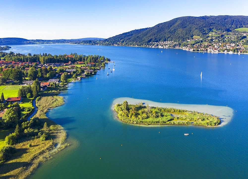 Abwinkl and Ringseeinsel, Tegernsee, aerial view, Upper Bavaria, Bavaria, Germany, Europe