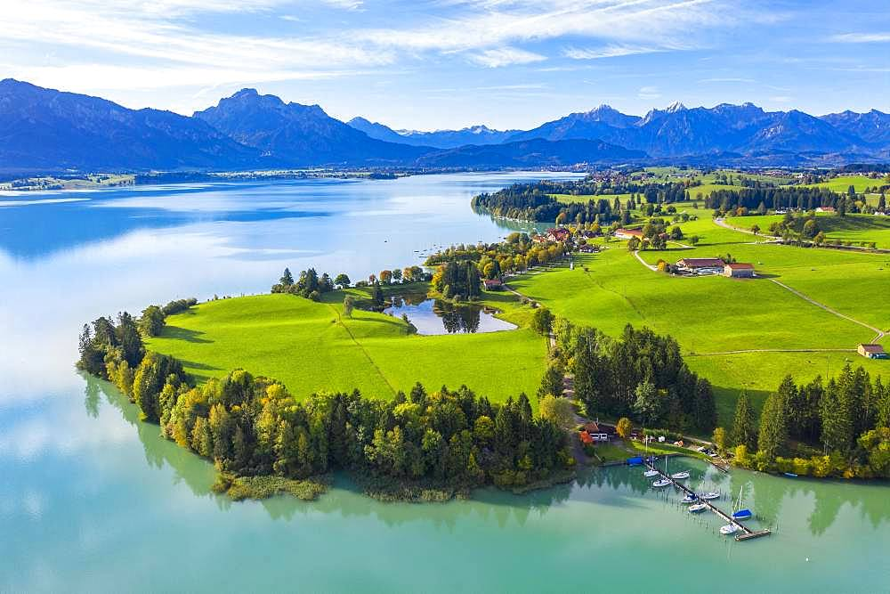 Lake Forggensee and Dietringer Toteisloch, Dietringen, Ostallgaeu, Allgaeu, aerial view, Swabia, Bavaria, Germany, Europe