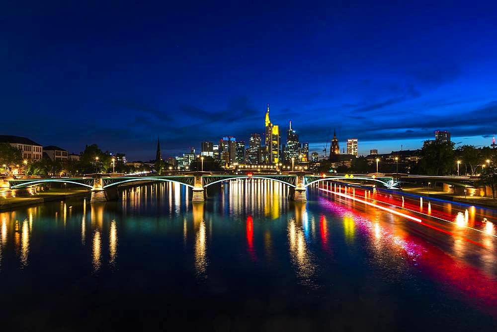 Illuminated Skyline and Ignatz Bubis Bridge at Blue Hour, City Centre, Frankfurt am Main, Hesse, Germany, Europe