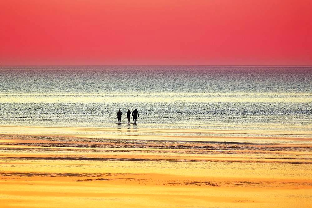 Silhouettes of people on the beach in the water at sunset, North Sea, Lower Saxony, Germany, Europe