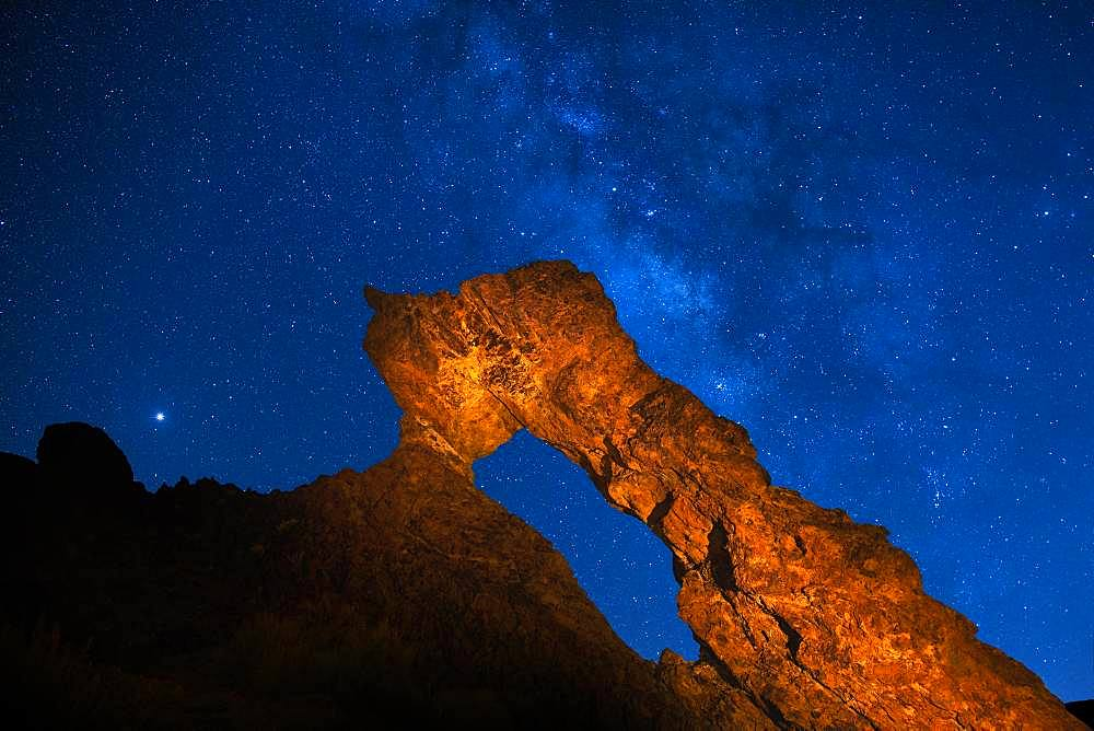 Lighted Zapato de La Reina, The Queen's Shoe with Starry Sky, Milky Way, New Moon Night Shoot, Las Canadas, Teide National Park, Tenerife, Canary Islands, Spain, Europe - 832-386599