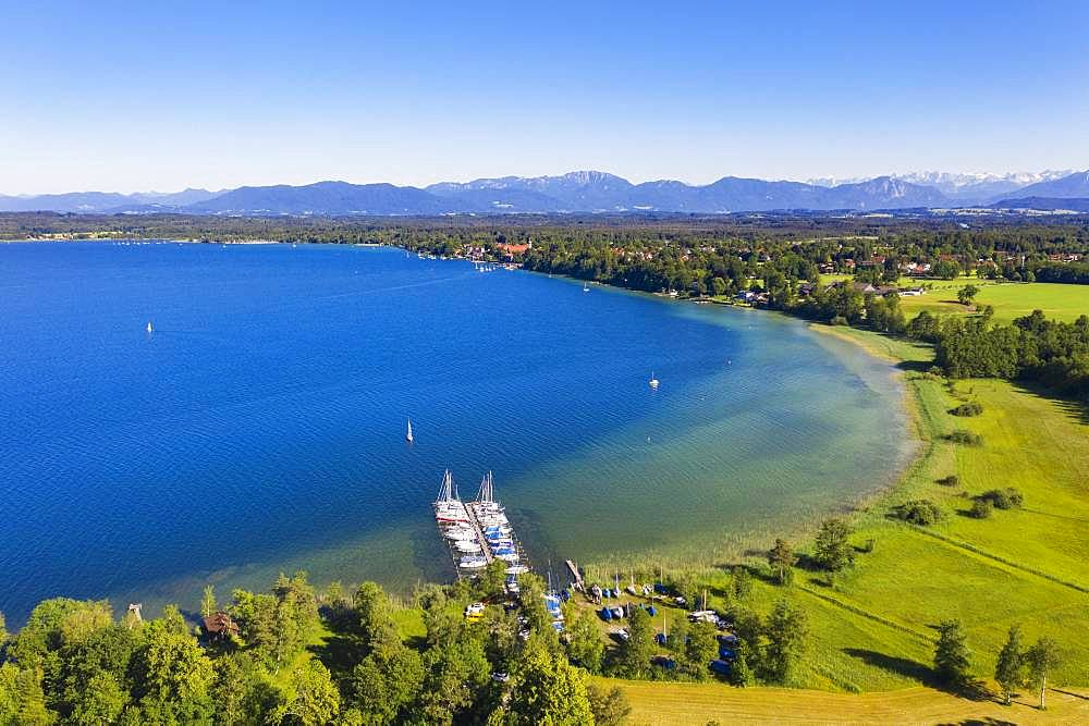 Boat landing stage in lake sides at Lake Starnberger See with alpine chain, lake head, five lake country, aerial view, Upper Bavaria, Bavaria, Germany, Europe