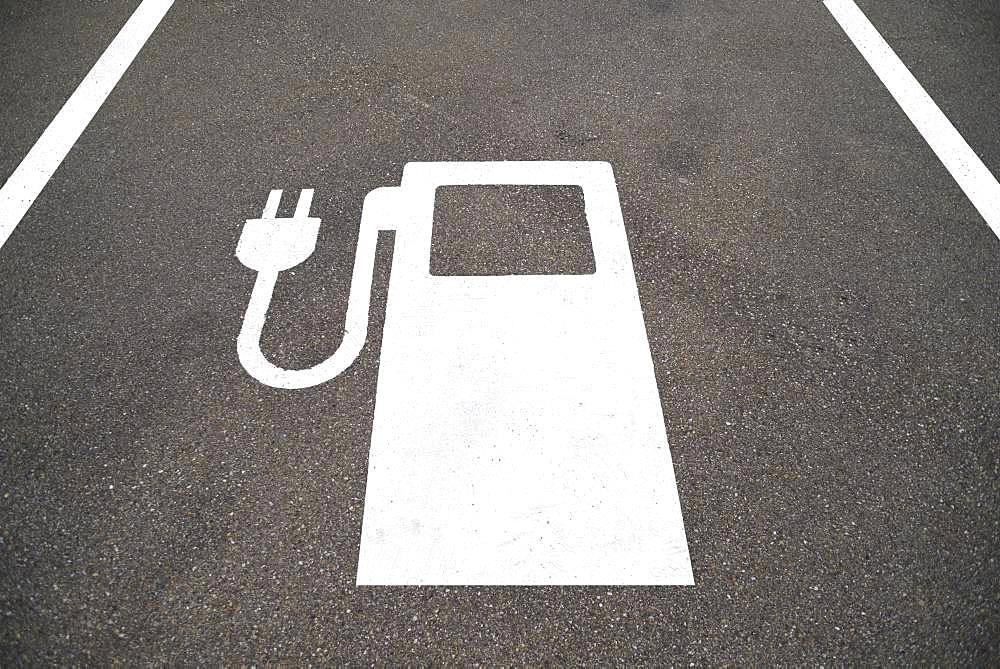 Symbol of an electric filling station on a parking lot, Bavaria, Germany, Europe