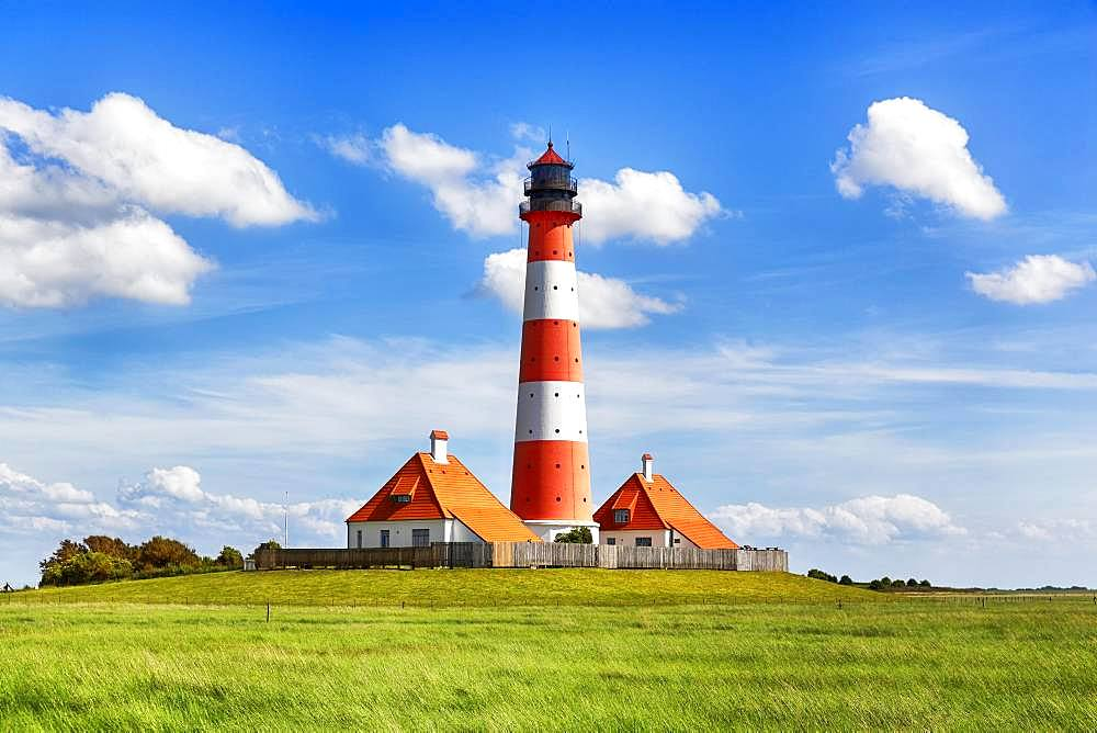 Westerheversand lighthouse, Westerhever, Eiderstedt, North Frisia, Schleswig-Holstein, Germany, Europe