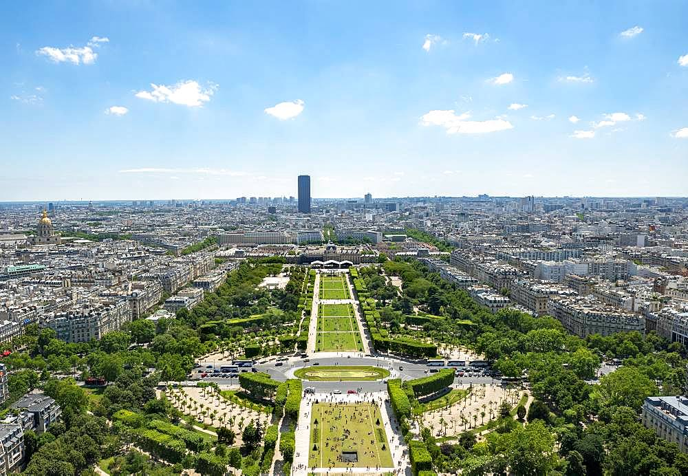 Cityscape, view from the Eiffel Tower over Parc du Champ de Mars, Montparnasse Tower behind, Paris, Ile-de-France, France, Europe