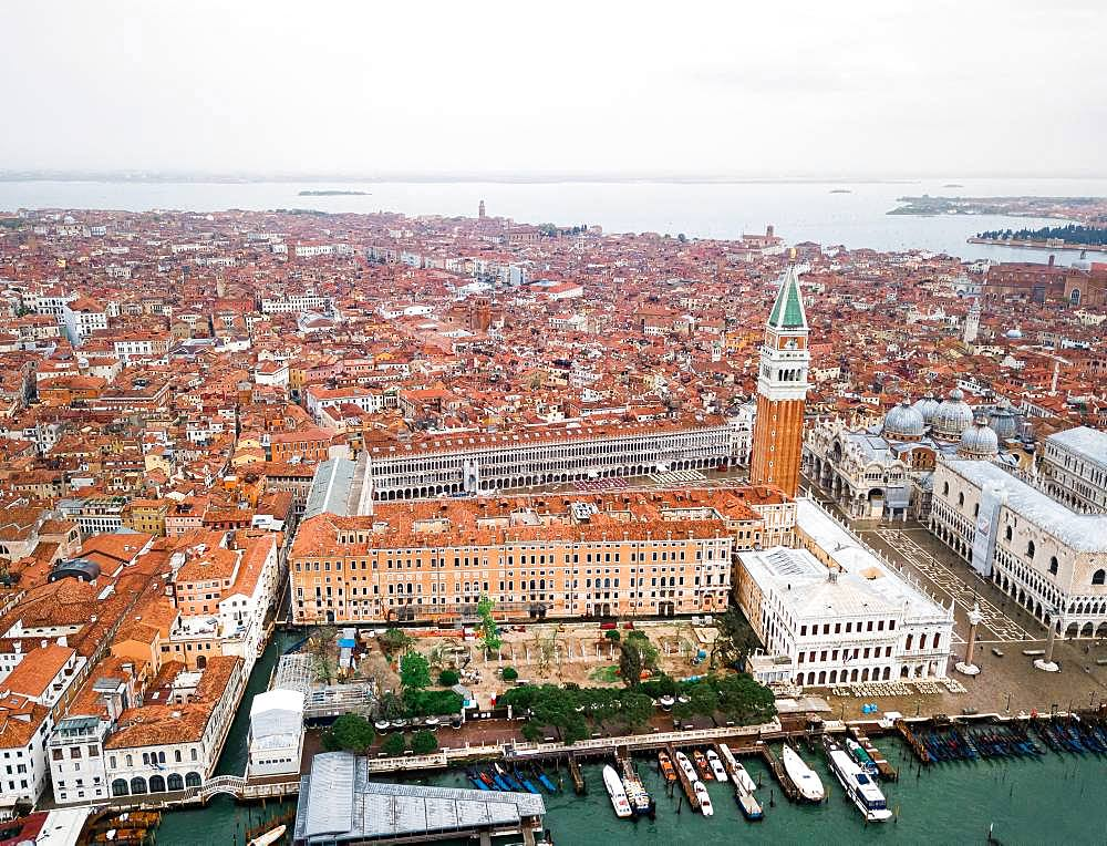 Piazza San Marco with Campanile, Basilica San Marco and Doge's Palace, aerial view, Venice, Veneto, Italy, Europe