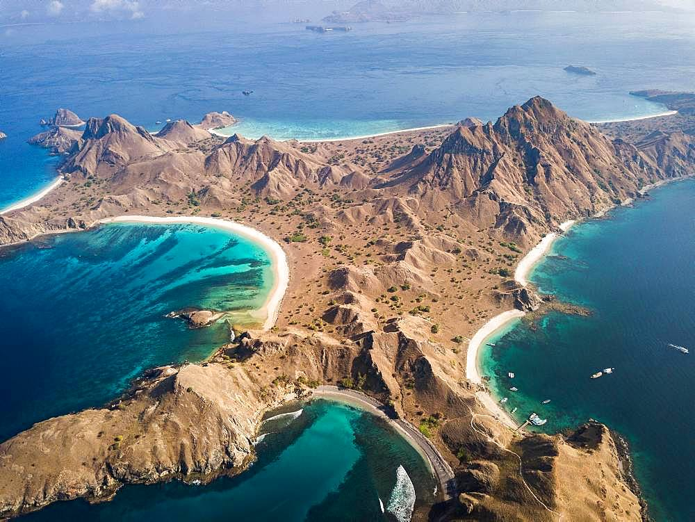 Aerial view, mountainous island, tropical beaches, Padar Island, Indonesia, Asia